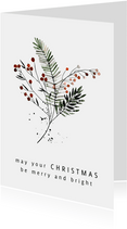 Kerstkaart boeket takjes en bessen