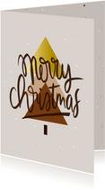 Kerstkaart boom grafische vlakken