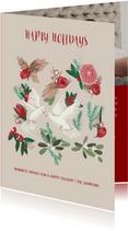 Kerstkaart botanisch met duiven