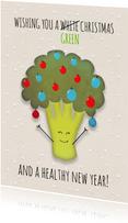 Kerstkaart broccoli staand wishing you a green Christmas