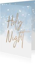 Kerstkaart christelijk Holy Night met waterverf en sneeuw