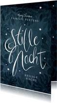 Kerstkaart Christelijk stille nacht kalligrafie sterren