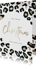 Kerstkaart christmas panterprint goudlook