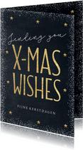 Kerstkaart Christmas Wishes goud krijtbord
