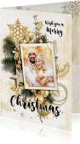 Kerstkaart collage scrapbook staand goudtinten