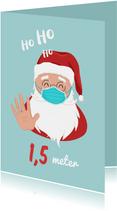 Kerstkaart corona covid kerstman kerstballen humor mondkapje
