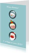 Kerstkaart corona drie kerstfiguren met mondkapje