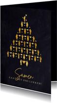 Kerstkaart Corona - Samen gaat het ons lukken kerstboom hart