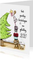 Kerstkaart de boom wordt opgetuigd