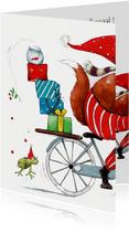 Kerstkaart de pakjes leverancier