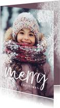 Kerstkaart dennentakje wit met foto achtergrond