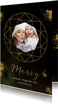 Kerstkaart diamantvorm goud en goudspetters met eigen foto