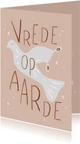 Kerstkaart duif vrede op aarde
