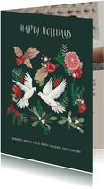 Kerstkaart duiven en botanisch bloemen