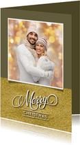 Kerstkaart eigen foto aanpasbare achtergrondkleur en goud