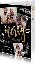 Kerstkaart foto collage met kersttakjes