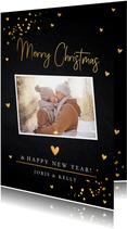 Kerstkaart foto confetti goudlook