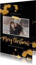 Kerstkaart foto Merry Christmas krijtbord met goud