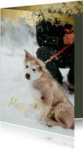 Kerstkaart foto met gouden randje en 'Merry Christmas'