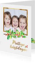 Kerstkaart foto met goudkader
