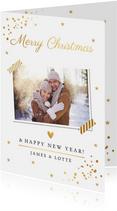 Kerstkaart foto wit en gouden confetti