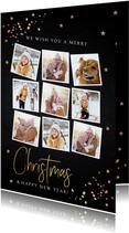 Kerstkaart fotocollage donker goud confetti