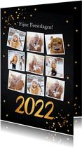 Kerstkaart fotocollage donker goudlook confetti