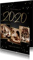 Kerstkaart fotocollage handgeschreven 2020 krijtbord