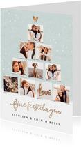Kerstkaart fotocollage kerstboom goudlook confetti