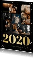Kerstkaart fotocollage met gouden 2020 en sterren