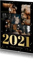 Kerstkaart fotocollage met gouden 2021 en sterren
