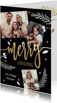 Kerstkaart fotocollage met kersttakjes