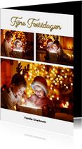 Kerstkaart fotocollage staand wit