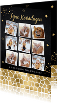 Kerstkaart fotocollage zwart panterprint goudlook