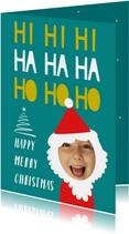 Kerstkaart funny face kerstman hohoho