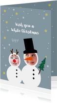 Kerstkaart funny sneeuwpoppen kids