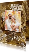 Kerstkaart gezellig hout goud met eigen foto