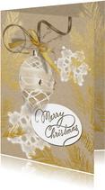 Kerstkaart glazen kerstbal gouden kersttak