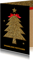 Kerstkaart glitter boom goud