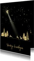 Kerstkaart goud-illustratie op zwart