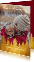Kerstkaart gouden kerstbomen en foto