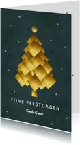 Kerstkaarten - Kerstkaart gouden kerstboom donker groen