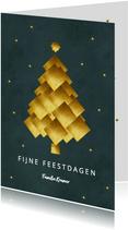 Kerstkaart gouden kerstboom donker groen