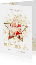 Kerstkaart gouden ster met foto stijlvol