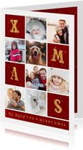 Kerstkaart gouden XMAS met vakjes en foto's