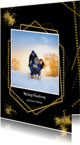 Kerstkaart goudkaders op zwart en eigen foto