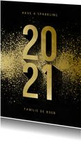 Kerstkaart goudlook 2021 met spetters