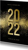 Kerstkaart goudlook 2022 met spetters