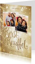 Kerstkaart goudlook kerstknuffel met 2 foto's