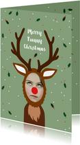 Kerstkaart grappig met eigen foto als rendier